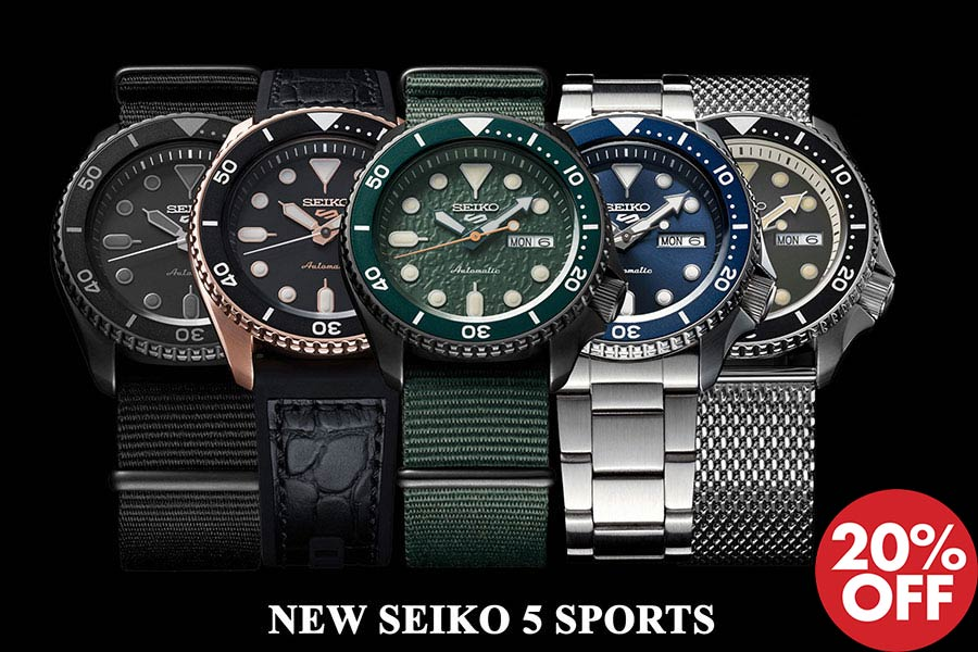 Seiko 5 Sports New Logo 20% Off