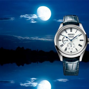 Presage captures the beauty of the moon reflected in water with an Arita porcelain dial.