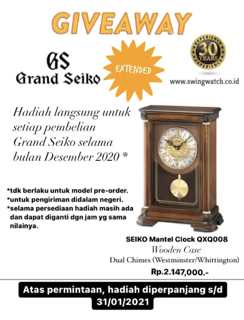 Promo Grand Seiko Mantel Clock January