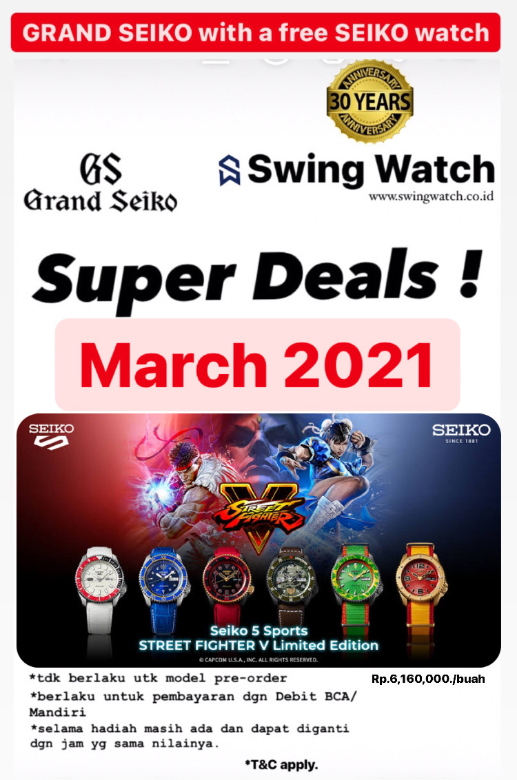 Grand Seiko Seiko 5 Street Fighter March 2021 Promo