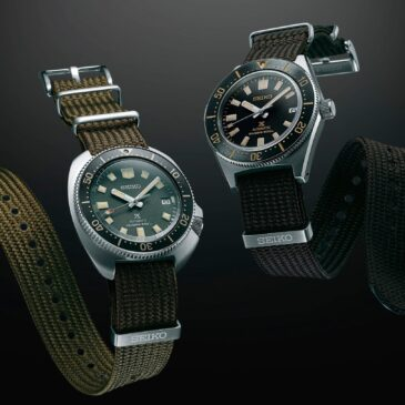 Two creations presented on a new type of fabric strap made especially for Prospex diver's watches